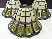 Set Of 3 Leaded Stained Glass Matching Lamp Shades Blue Green Ivory 5