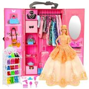 Dollhouse Furniture 73 Items/set=1 Wardrobe +72 Doll Accessories For Barbie