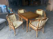 Vintage Drexel Heritage Faux Bamboo And Leather Burl Square Card/game And 4 Chairs