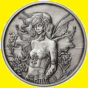 5 Oz Antique Amy Brown Collection Wall Flower Silver Round New W/ Coa