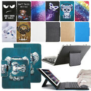 For Rca 10 10.1 Tablet Pc Leather Case Pattern Bluetooth Keyboard Stand Cover