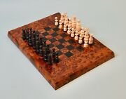 Antique French Bone Regence Pattern Chess Set And Elm Wood Games Board
