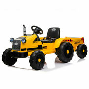 Ride On Car Tractor 12v Kids Toy Mp3 Light Seat Belt With Trailer Remote Control