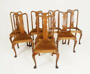 Antique Set Of Chairs, Queen Anne Style, Oak, 8 Chairs, Scotland 1910, B2327
