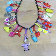 Vintage 80and039s Bell Charm Necklace Plastic Clip On 20pc Clown Record Sheep Tank