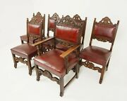 Antique Set Of Chairs, 6 5+1 Oak Dining Padded Chairs, Scotland 1920, B2573