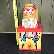 Vintage Chad Valley Jack In A Box Pop Up Clown Red Box Rare Childrenandrsquos Toy