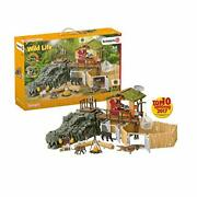Schleich Wild Life Crocodile Jungle Research Station With Jungle Animals 69-piec
