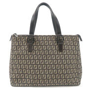 Authentic Fendi Zucchino Canvas Leather Tote Bag Beige Brown 8bh134 Used F/s