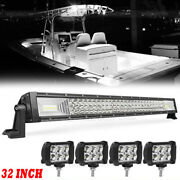 32and039and039 Marine Spreader Lights Led Light Deck/mast Lights Spot Flood Boat +4and039and039 Pods
