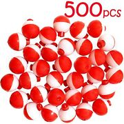 500pcs 1 Fishing Float Snap-on Round Floats Bobbers Push Button Red White Aaa