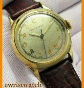 Vintage 40's Schaffhausen Solid 14k Gold Watch Cal.60 By Galt And Bro Jewelers
