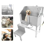 Pet Dog Cat Grooming Bath Tub Stainless Steel Pet Wash Shower With Stairs 34