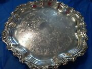 Oneida Webster Wilcox Countess Round Silverplate 14.25 Footed Tray Platter New