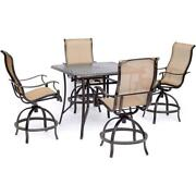 Manor5pc 4 Sling Counter Height Swvl Chairs, 42 Sq Cast Table 36h