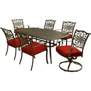 Traditions7pc 4 Dining Chairs 2 Swivel Rockers 38x72 Cast Table