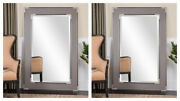 Two Alfred Xxl 61 Oversized Gray Beveled Floor Mirror Aged Silver Black