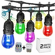Outdoor String Lights Music Flash Color Changing String 48fts×2pack