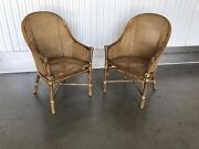 Pair Of Vintage Mcguire Bamboo Rattan Hollywood Regency Side Or Club Chairs