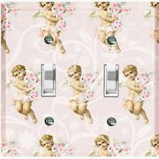 Metal Light Switch Cover Wall Plate Romantic Floral Angel Cupid Damask Agl003