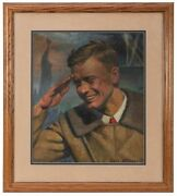 Famous Aviator Charles A. Lindbergh Painting By Carl Bohnen Illustrator Signed