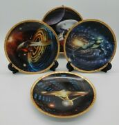 Lot Of 4 Vintage Star Trek The Voyagers Collector Plates With Coas Limited