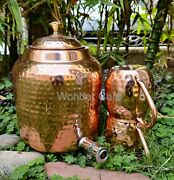 100 Pure Copper Hammered Water Dispenser, Pitcher, Tank With 2 Moscow Mule Mugs