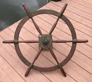 Antique 30andrdquo Brass W/ Wood Handle Ships Wheel And Mount - 1928 Nivens Yacht Salvage