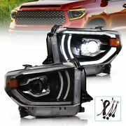 For 14-19 Toyota Tundra Sequoia Black Led Halo Projector Sequential Headlights