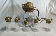 Vintage Valenti Lion Head Glass Pitcher And 5 Glasses Brass Signed 1960s Rare