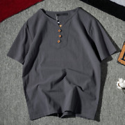 Summer Menand039s Solid Color Short-sleeved Shirt Cotton And Linen Casual T-shirt