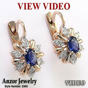 18k Rose And White Gold Genuine Diamond And Ceylon Sapphire Russian Style Earrings