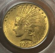 1913 10 Indian Head Gold - Pcgs Ms62