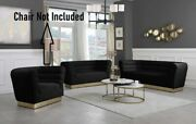 Contemporary Style Channel Tufting Sofa Love Seat Black Color Velvet 2pc Sofa