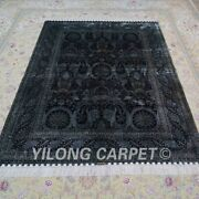 Yilong 5and039x7and039 Dark Blue Handmade Silk Carpet Classic Unique Area Rug Ywx123a