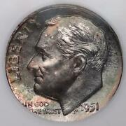 1951 Proof Roosevelt Silver Dime Ngc Pf67 - Toned Doublejcoins 6000-08