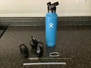 Hydro Flask 24 Oz 709 Ml Stainless Water Bottle Blue W/ 3 Replacement Tops New