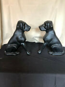 Vintage Liberty Foundry Black Cast Iron Labrador Fire Dogs Fireplace Andirons