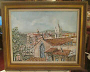 Mid Century Modern Cityscape Impressionist Oil Paintings Signed Chimico