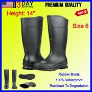 Mens Work Rubber Fishing Hunting Boots Black Waterproof Pvc 14in Mud Dirt Size 6