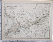 1889 Large Antique Map Dominion Of Canada Ontario Quebec St Francis Montreal