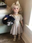 21andrdquo Antique French Bebe Jumeau Bisque Doll Vtg Porcelain Jointed Compo Body
