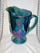 Colony Indiana Glass Harvest Grape Carnival Glass Pitcher Iridescent Blue