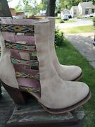 Junk Gypsy Lane 7.5 Leather Mid Cowboy Cowgirl Booties Boots Nice
