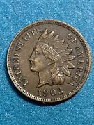 1903 Indian Head Cent Penny Full Liberty And Diamonds Xfau