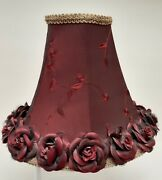 Vintage Lamp Shade Embroidered Rosebud Trim Fabric Hand Crafted Burgandy 8x10