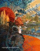 David Galchutt A View Of Sheffield Park East Sussex Oil Painting 16 X 20