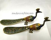 Vintage Brass Peacock Figurine Small Brass Peacock Shoe Horn 2 Piece For Gift