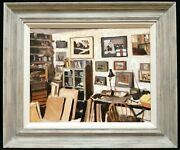 John Maddison B. 1953 Books And Pictures In The Studio Interior Oil Painting