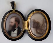 Victorian Onyx Mourning Locket With Portrait On Porcelain And Hair Lock
